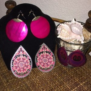NORDSTROM Pink and Purple Large Dangle Earrings